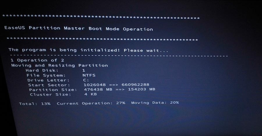 Partition Master boot mode