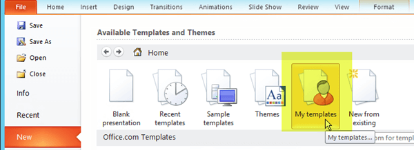 On the File tab of the ribbon, select New, then select the My Templates  button.