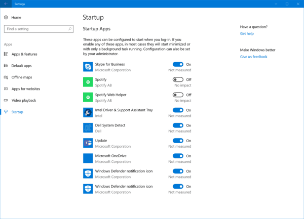 Windows 10 Startup Settings Page